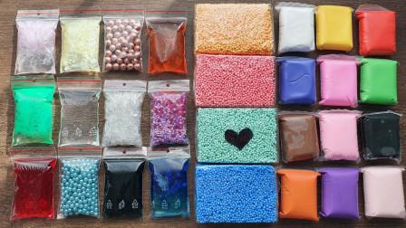 见过用五颜六色的珍珠、珠珠做无硼砂泥吗?混入各种材料,最后能成功吗