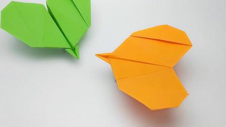 一张纸不剪不粘折出纸飞机,还是爱心形状,飞行也很棒真会玩!