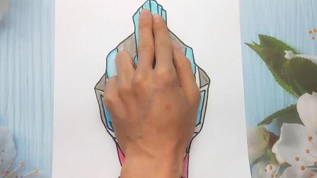 用手掌放在一张纸手绘银河奥特曼,画法简单又好看的手势图
