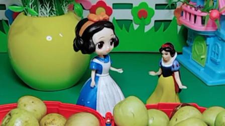 小白雪快生日了,贝儿公主为她买了生日蛋糕,小白雪好喜欢啊!