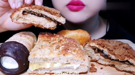 吃播:各种美味的面包,小姐姐的美食时间