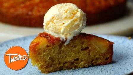 自制上下翻转焦糖苹果蛋糕|扭曲的【1】