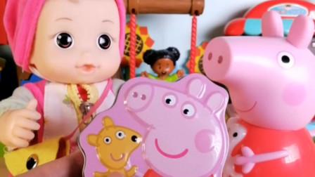 粉色铁盒小猪佩奇的大大泡泡糖