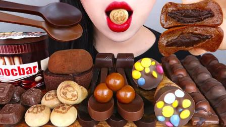 美女挑战3斤巧克力美食,各式各样的巧克力太诱人了,网友:狂流口水啊