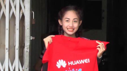 老挝的华为促销妹子,这颜值,我想打100分!拍于老挝首都万象