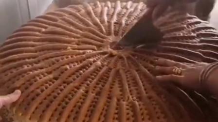 糕点师傅真是一位牛人,居然制作出这么大的月饼,里面还是多层的!