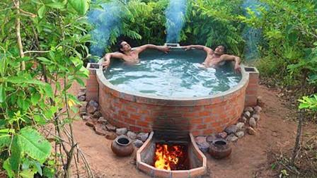在丛林找一块静谧之地,建造了浴池,你值得拥有