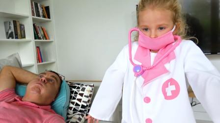 爸爸生病了,萌娃小可爱化身医生小天使照顾爸爸,一萌娃:好无奈啊!