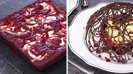 红色丝绒乳酪蛋糕布朗尼与巧克力花边杯具【1】
