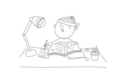 趣味简笔画,教大家画一个读书的卡通人物,简单易学,只需两分钟