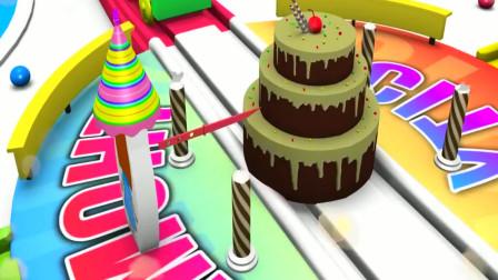 蛋糕小镇上蓝色火车和粉色火车运输彩色蜡烛