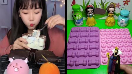 美女创意吃播:自制的提拉米苏蛋糕,吃起来松软可口,看着就直流口水!