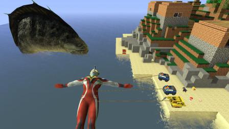 GMOD游戏汪汪队的车子能把奥特曼拉到岸上来吗?