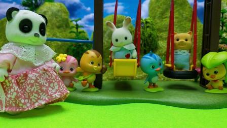 和熊宝宝一起玩儿童车
