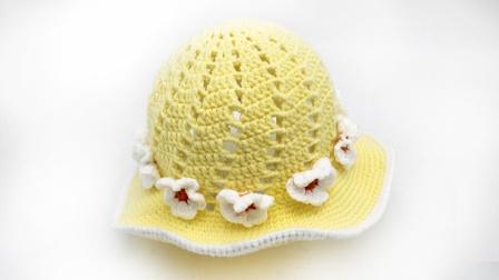 绒尚手工-儿童渔夫帽小花朵毛线帽子编织教程