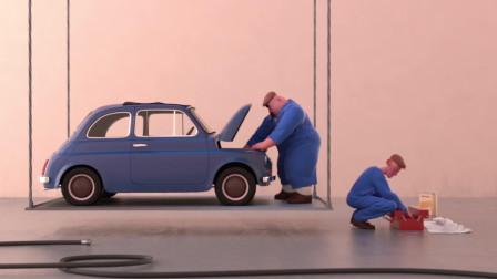 两个修理工和汽车,玩起来了体操游戏,一发不可收拾