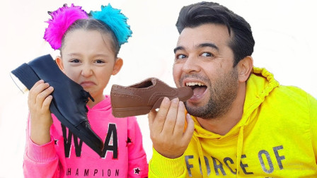 好奇怪!萌宝小萝莉爸爸的鞋子为何是巧克力做的?趣味玩具故事