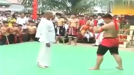 太极武术家展示中国功夫,轻松几招打服对手,泰拳手跪地磕头