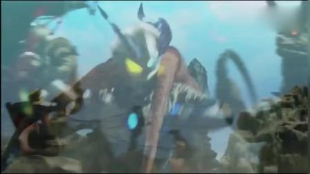 奥特曼:怪兽耍赖,敢咬住赛罗的脚,欧布率先撤退,赛文赶来救他儿子