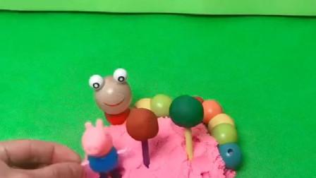 小羊正在吃糖呢,乔治说这上面有虫子,其实都是骗人的