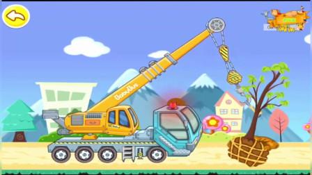 驾驶操作吊臂车大卡车植树种树 儿童卡通休闲益智游戏