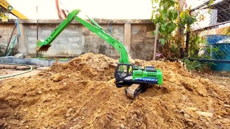 儿童仿真挖掘机玩具,绿色长臂挖掘机玩具