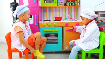 萌娃小可爱们的餐馆生意可真兴隆呀!—萌娃:今天的订单可真不少呢!把宝宝都累坏了