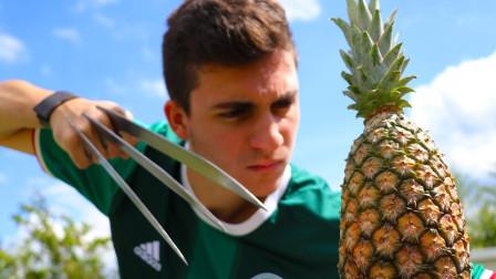 """小伙自制""""金刚狼爪"""",砍向菠萝的瞬间,场面太震撼了!"""