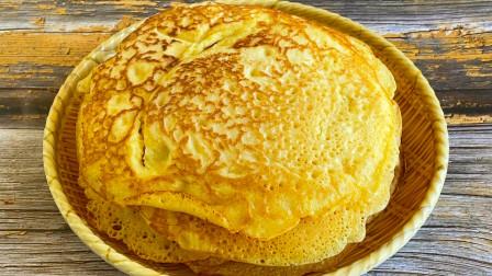 教你做玉米面锅出溜,开水一烫加2个鸡蛋,松软香甜女儿当面包吃 【三丰美食】