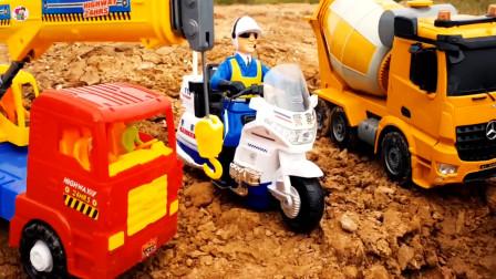 少儿益智,惯性工程车玩具,积木搭建大桥,吊车摩托车搅拌车自卸车,儿童玩具亲子互动