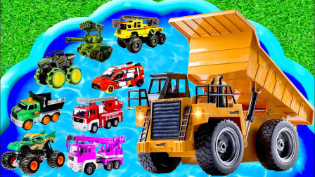 最新挖掘机视频表演10083大卡车运输挖土机+挖机工作+工程车