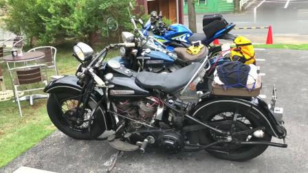 二战时期后留下的哈雷摩托车,还可以正常行驶