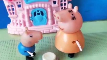 佩奇乔治生病了有糖吃,猪爸爸也想吃糖,得到的却是打扫工具