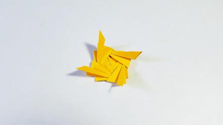 教你折纸吹动陀螺,转起来很好玩,简单易学