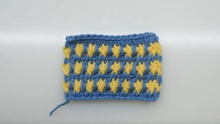 令人喜爱的阿富汗针,双色夹花针编织教程,这种特殊的钩法很好看