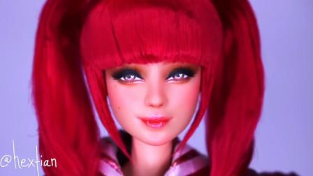 芭比娃娃化了个美美的妆,有了一股病态美
