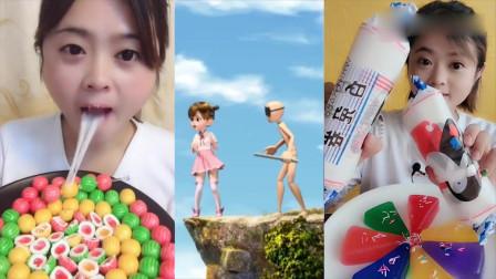 美女直播吃西瓜泡泡糖、大白兔蛋糕卷,看着就想吃