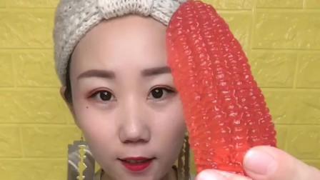 吃货A姐:果冻制作的玉米,小朋友们爱吃吗?
