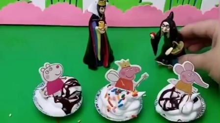 王后给白雪姐妹做蛋糕,给白雪做了辣椒蛋糕,给贝尔做乐糖果蛋糕!