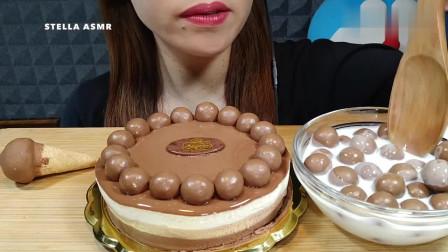 吃播:巧克力蛋糕、巧克力球和冰激凌,一次吃个过瘾