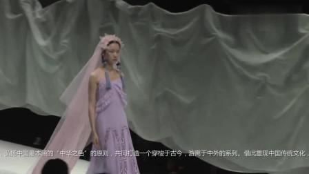 时装秀:淡紫色吊带纱裙,搭配上粉色花环头纱,散发出甜美馨香感