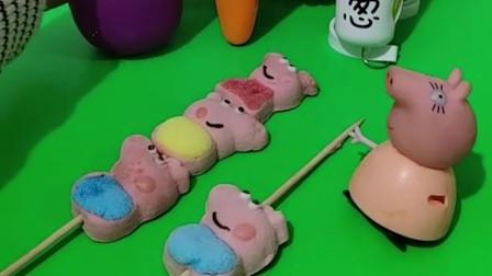 猪妈妈的棉花糖不见了,胡萝卜和茄子宝宝都没有拿,小朋友你知道在哪里吗?
