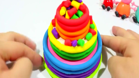 粉红猪小妹制作冰淇淋生日蛋糕吃吃粘土彩泥