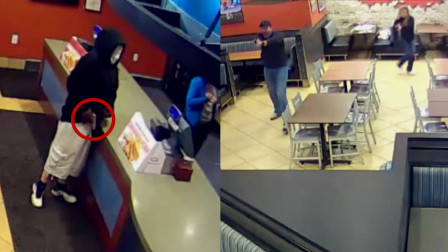 """监拍:歹徒持枪打劫恰逢警察吃饭 一个照面后歹徒""""完败"""""""