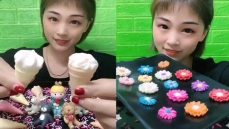 小姐姐直播吃:小冰淇淋和巧克力小花朵,各种各样卡通造型,好可爱
