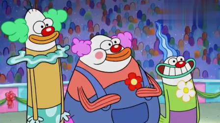 小丑在蛋糕店看到蛋糕忍不住要教训厨师长,还好海绵宝宝及时阻止