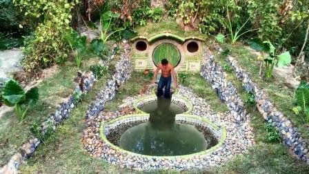 强大的原始技术!大神打造豪华的地下别墅和最美的游泳池