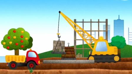 儿童卡通工程车总动员 大货车翻斗车施工作业
