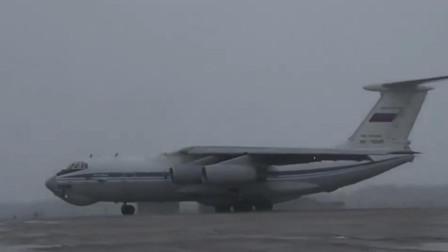 战斗民族伊尔-76在暴风雪中起飞