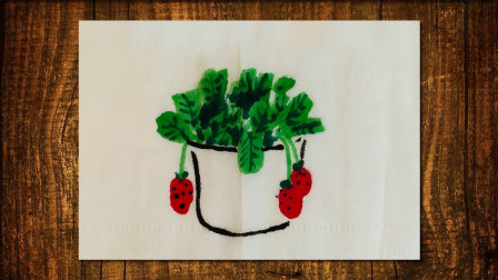 画盆栽草莓窦老师教画画